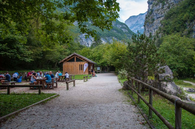 The picnic area at the start of the hiking path - Cadini del Brenton - Dolomites, Italy - rossiwrites.com