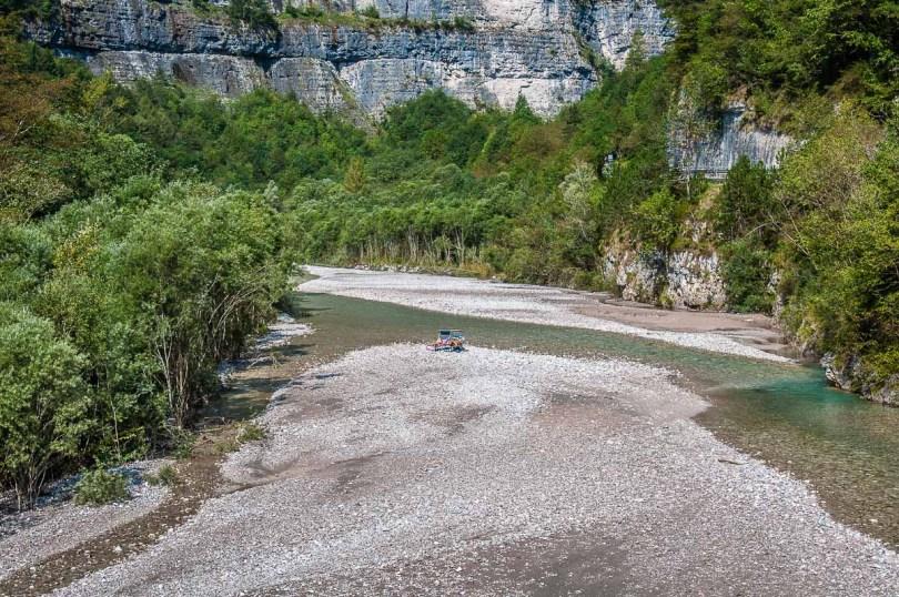 View of the stream Torrente Mis - Dolomites, Italy - rossiwrites.com