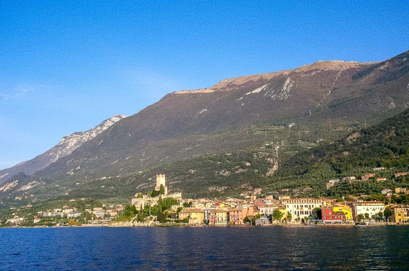 Malcesine and Monte Baldo seen from the board of the ferry - Lake Garda, Italy - rossiwrites.com