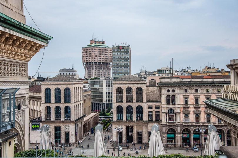 Milan's skyline seen from the rooftop of Galleria Vittorio Emanuele II - Milan, Italy - rossiwrites.com