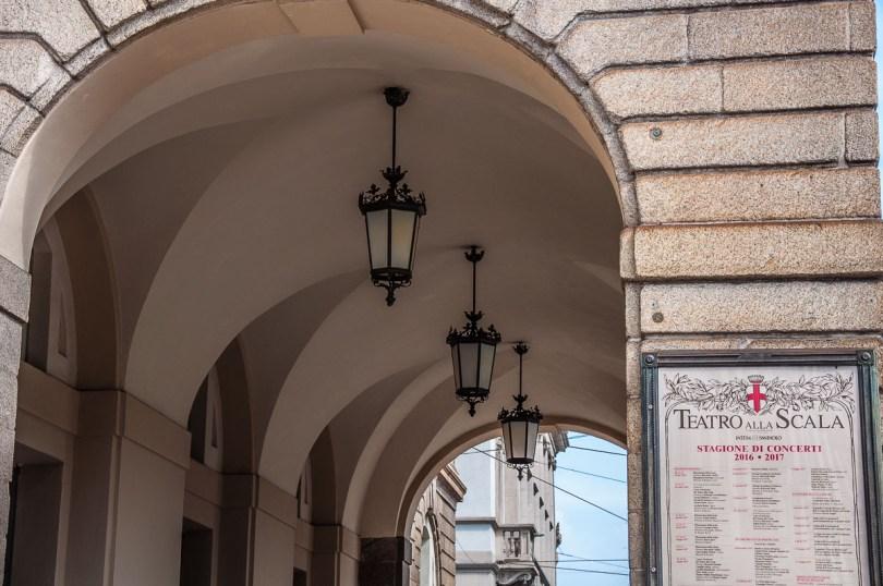The portico of La Scala Opera Theatre - Milan, Italy - rossiwrites.com