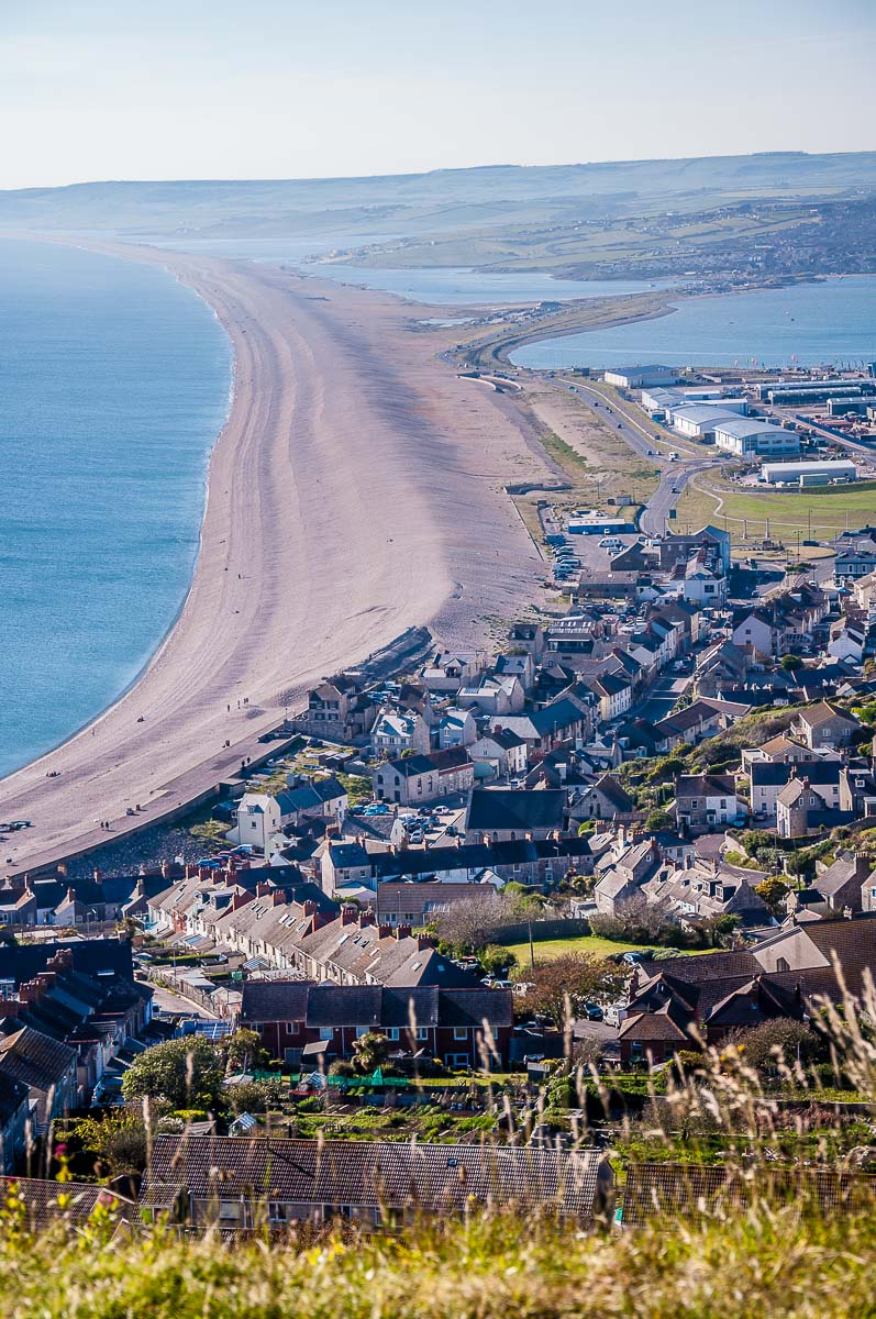 Chesil Beach seen from the top of the Isle of Portland - Dorset, England - rossiwrites.com