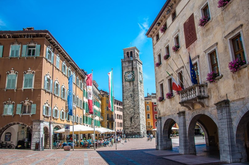 Piazza III Novembre with the Torre Aponale - Riva del Garda, Italy - rossiwrites.com