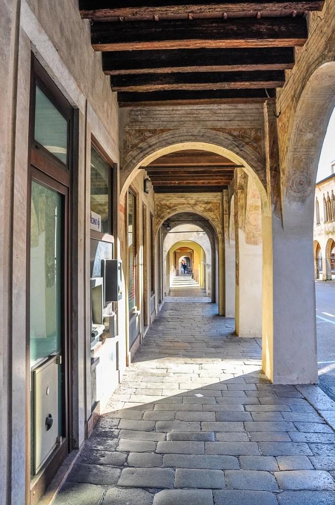 Long portico in the historic centre - Cittadella, Italy - rossiwrites.com