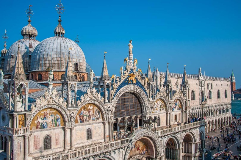 The facade of St. Mark's Basilica and the Doge's Palace - Venice, Italy - rossiwrites.com