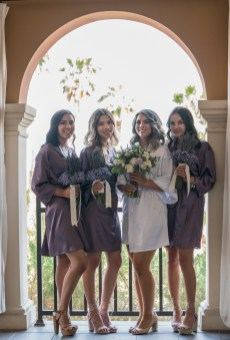 bridal robes and bouquet