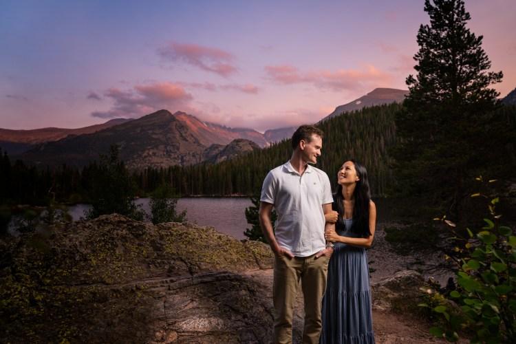 photograph of couple at bear lake in Estes Park
