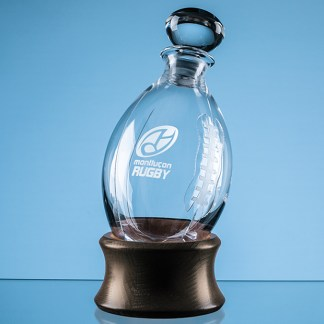 Dartington Crystal Rugby Ball Decanter with Wooden Base