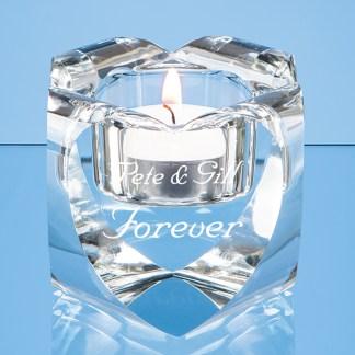6cm Optical Crystal Heart Tealight Holder*