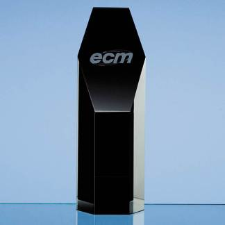 19cm Onyx Black Optical Crystal Hexagon Award