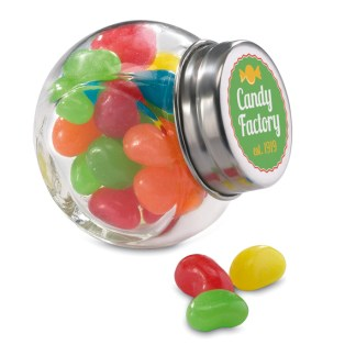 Glass jar with jelly beans