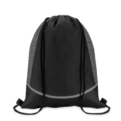 Drawstring bag with reflective stripe