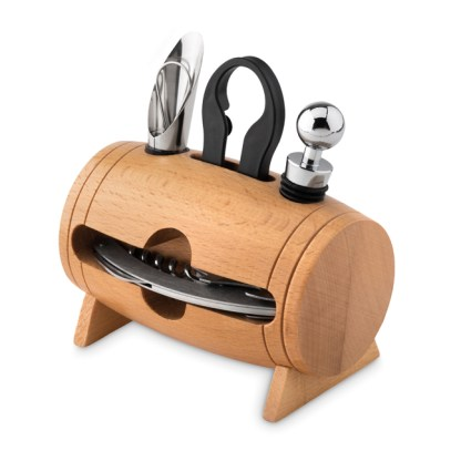 4 pcs wine set in wooden stand