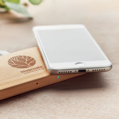 Double coil wireless charger in bamboo