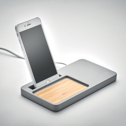 Desk organiser charger in cement and bamboo