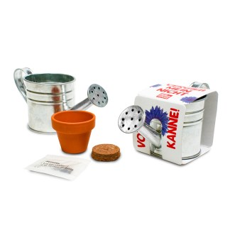 Zinc watering can with seeds