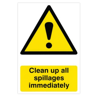 Clean up all spillages immediately sign (self-adhesive)