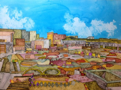 Marrakech Tannery. Inks and dyes. 38 x 28 cm on Moulin du Roy 300 gsm Torchon. SOLD