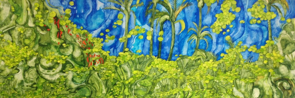 Majorelle Mirrored. 143 x 51 cm on Bockingford CP NOT 300 gsm POA