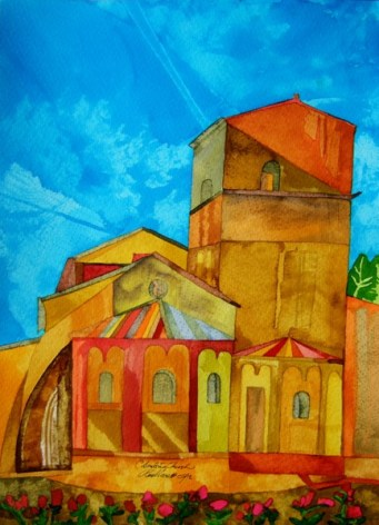 Colombiers church. Watercolour, dyes and ink. 28 x 38cm. POA gbp alt
