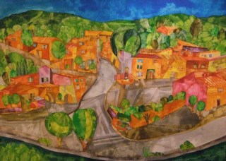 Le Village Calme D'ort (the quiet village sleeps). Dyes and Inks. 60 x 85 cm. SOLD