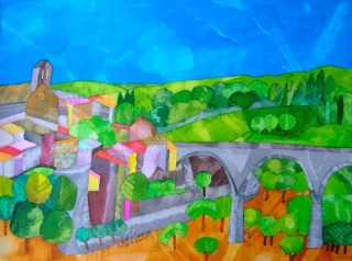 The Bridge to Minerve. Dyes and Inks. 29 x 39 cm. SOLD