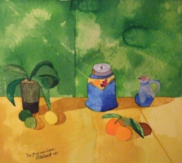 Two pairs and a lemon. Ink and water-colour. 25cm x 20cm £130 gbp