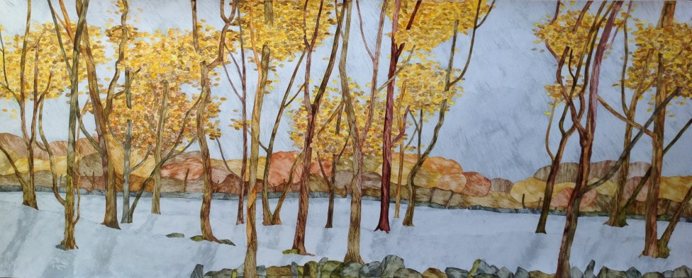Winter Woodland. Inks on Moulin du Roy Torchon. 150 x 45 cm. SOLD