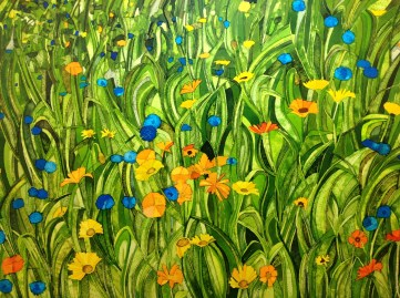 Meadow with Daisies and Cornflowers. Inks and dyes. 56 x 38 cm on Bockingford 300 gsm CP. Available from Gallery 6