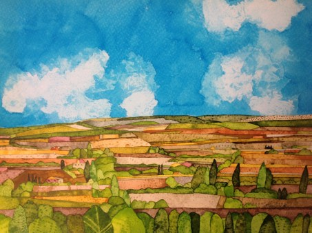 From Antiquera. Inks and dyes. 38 x 28 cm on Moulin du Roy 300 gsm Torchon. POA