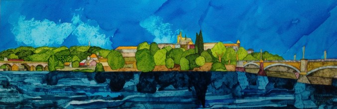 Across the Vltava. Inks and dyes. 56 x 20 cm on Bockingford 300 gsm CP NOT. SOLD