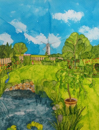 A Kentish Garden. Inks on Bockingford CP NOT. 28 x 38 cm. Commission