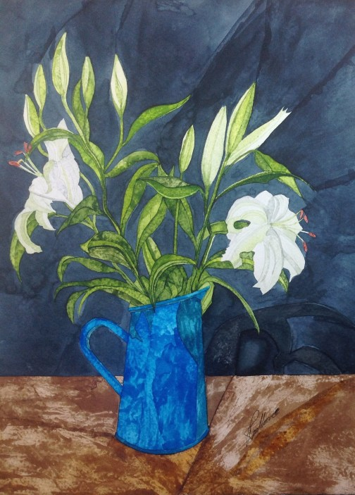 Blue Vase with Lillies. Inks on Moulin du Roy Torchon. 28 x 38 cm. POA