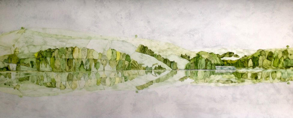 Air Earth Water 110 x 45 cm Inks on Moulin du Roy Torchon. POA