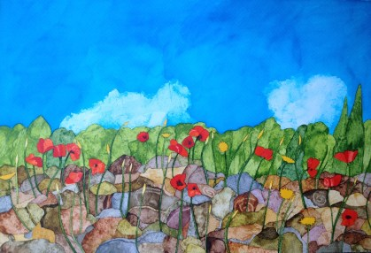 Spanish Poppies II. 56 x 38 cm Inks on Moulin du Roy 300 gsm Torchon. POA