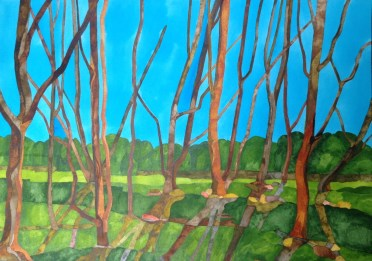 Shadow Sycamores. 75 x 55 cm Inks on Claire Fontaine Aqua NOT. POA