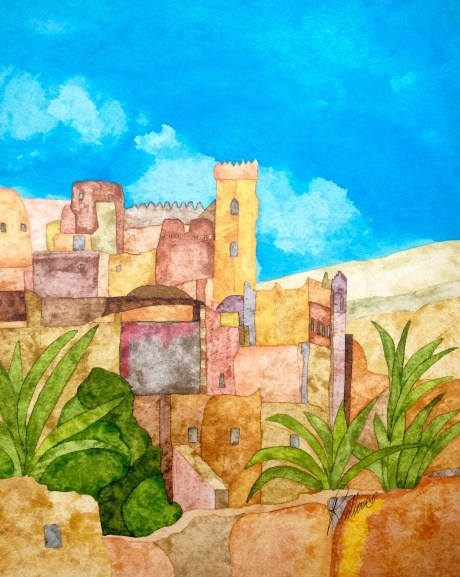 Kasbah Tamnougalt. 28 x 38 cm Inks on Bockingford HP paper. POA