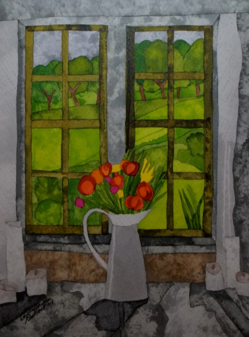 Wedding Window. Inks and Dyes. 18 x 27 cm. SOLD