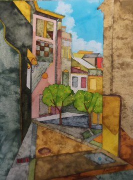 Antequera Backstreet. Inks and dyes. 28 x 38 cm on Bockingford 300 gsm CP. POA