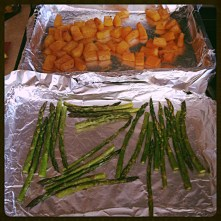 Baked butternut squash and asparagus.