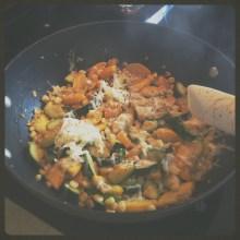 Zucchini, squash, and corn saute.
