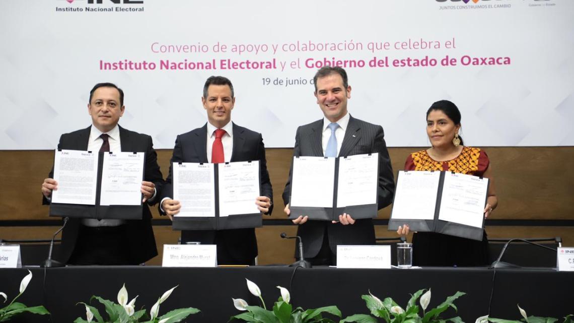 Acuerdan Gobierno de Oaxaca e INE fortalecer derechos político – electorales de pueblos y comunidades indígenas