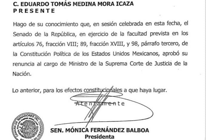 Senado aprueba renuncia de Medina Mora como ministro; panistas piden saber cuáles fueron las «causas graves» de su dimisión