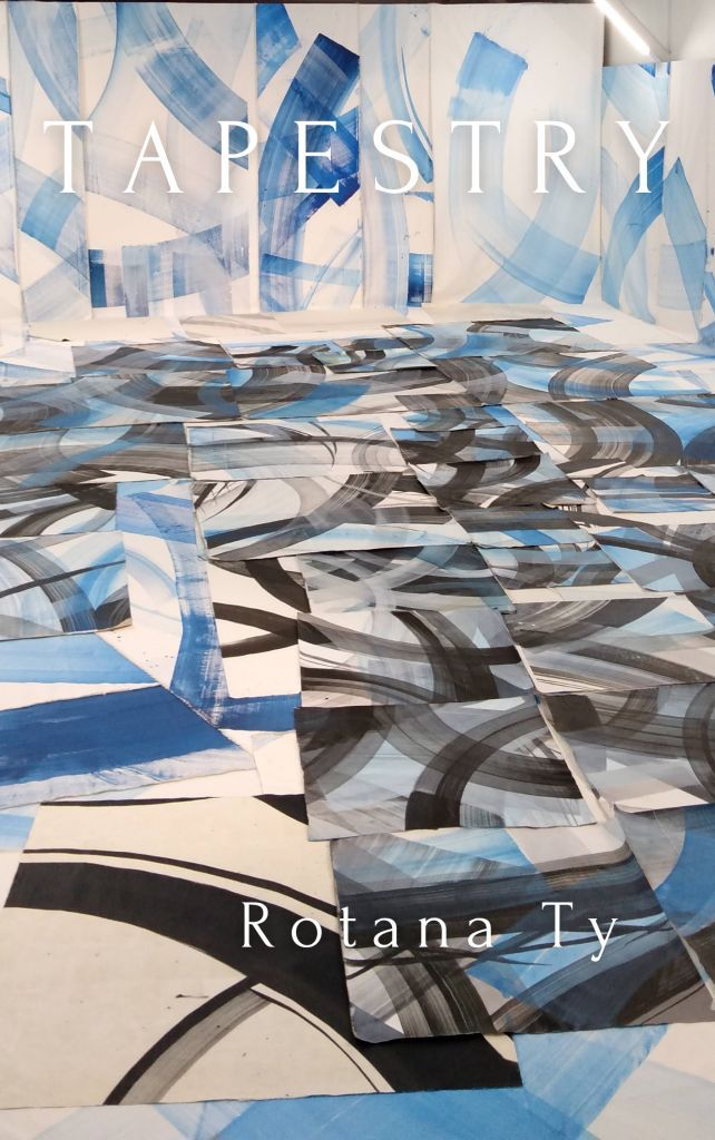 tapestry book cover line blue black grey art learning rotana ty