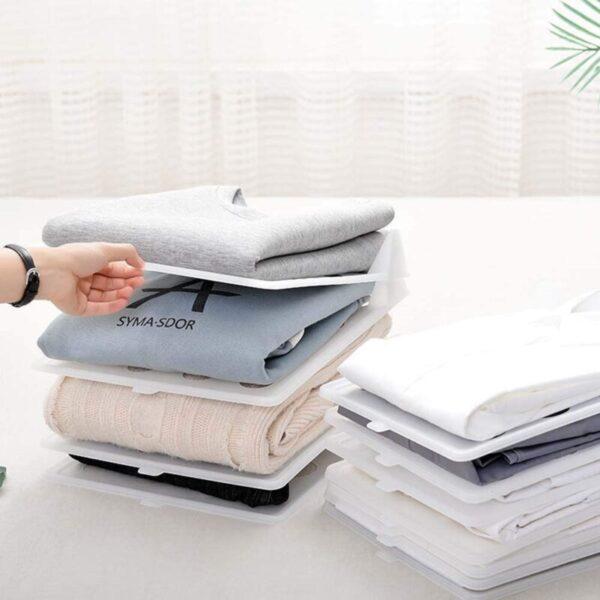 5 Pack Stackable Transparent White Clothes Shirt Storage Folders Board Closet Organizer