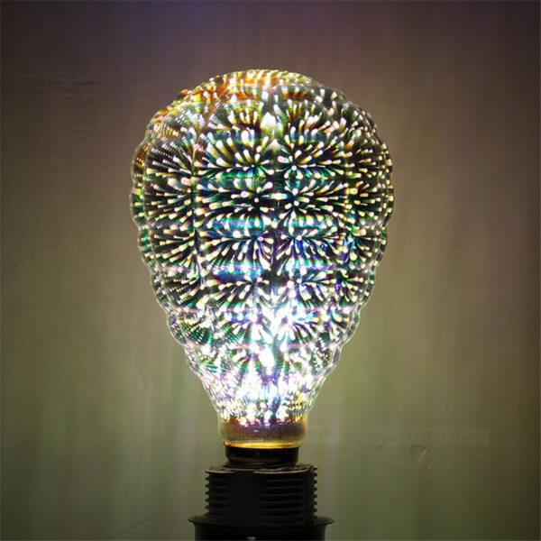 3D Star Filament Retro Bulb 4w Edison Light Fireworks Effect Holiday Decoration Bar Glass Led
