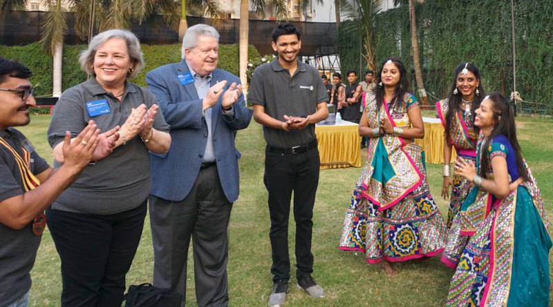 Rotaractors welcome RIPE Mark Maloney and Gay to the Rotaract meet in Surat. Also seen: DRR Kushal Shah (left) and DRRE Chintan Shah.