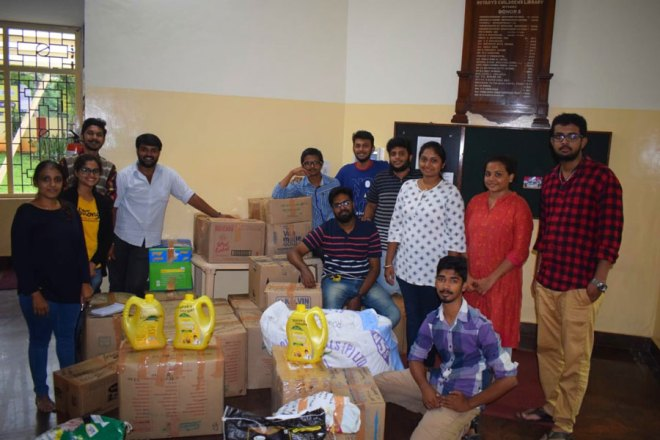 Flood relief material ready for distribution.