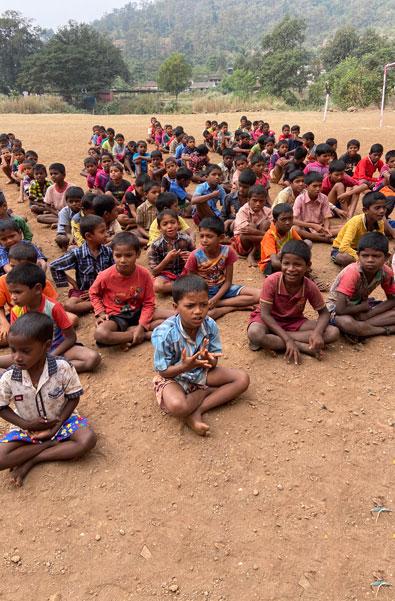 Tribal children waiting for dental check-up.