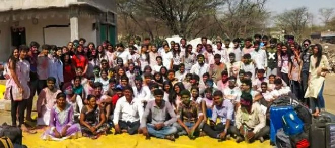 Rotaractors with villagers at the Aashayein Project; Bottom: A screenshot of the Dear Me programme.